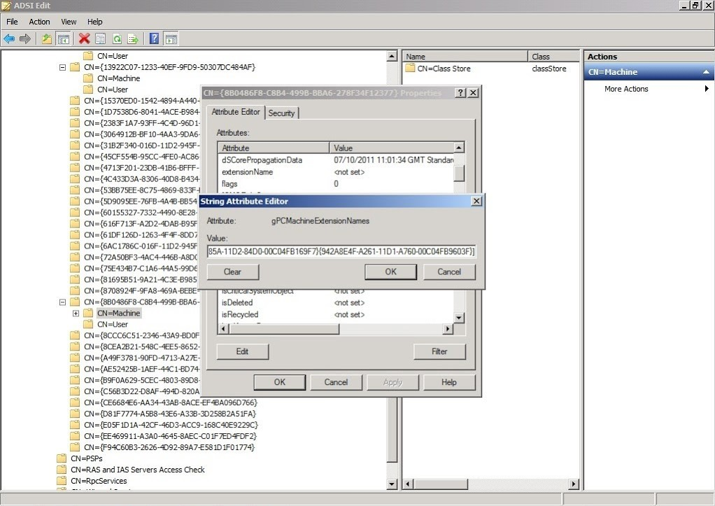 screenshot of string attribute editor for Normal Group Policy Software Installation
