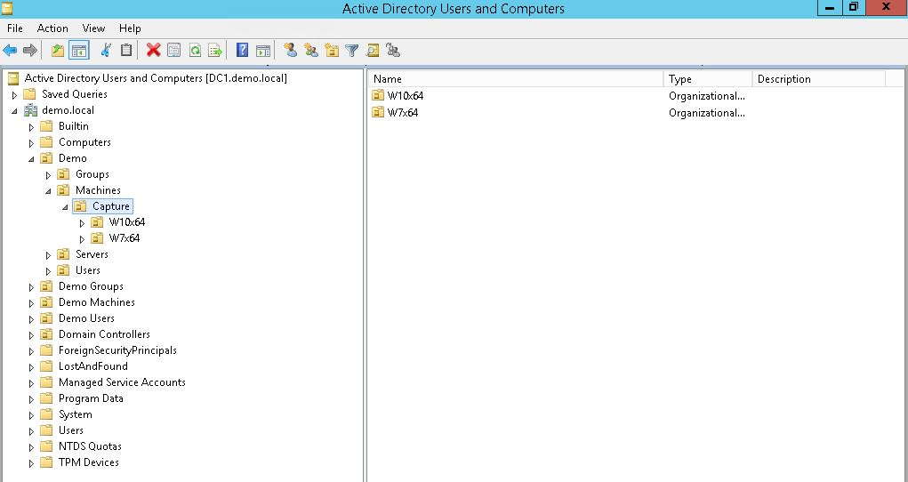Screenshot of Active Directory for Golden Image - 1