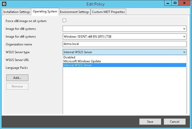 screenshot of edit policy for internal WSUS Server - golden image golden - 4