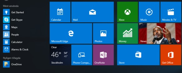 Default Windows 10 start menu