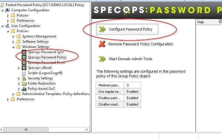 Screenshot of Regular expression - configure specops password policy