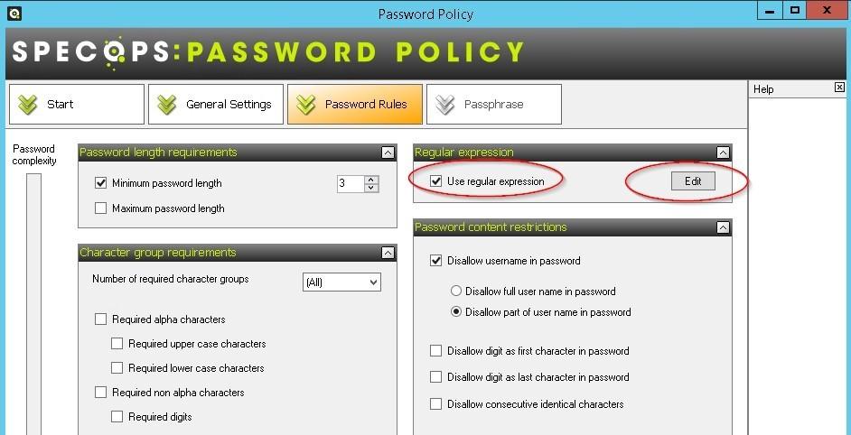 Screenshot of Regular expression - Specops password policy 2