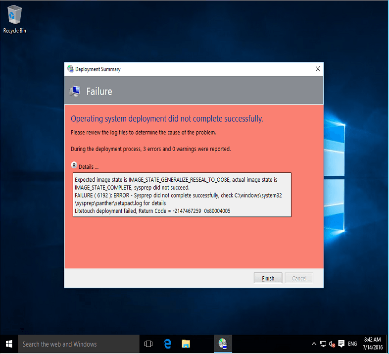 Sysprep Capture of Windows 10 fails 1