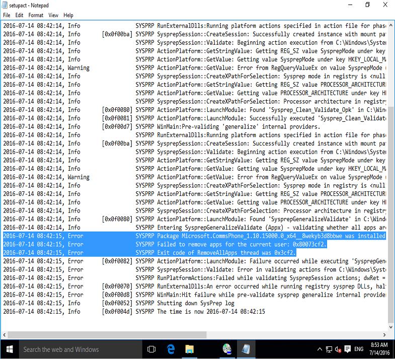 Sysprep Capture of Windows 10 fails - 2